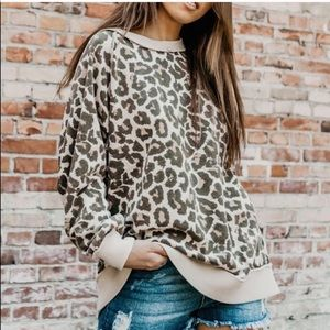 Free People Oversized Animal Print Sweater